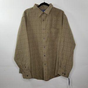 Croft Barrow Wovens Hawk Brown Button Down Shirt